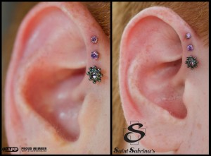Triple Forward Helix Piercings with BVLA and NeoMetal ...- photo #44